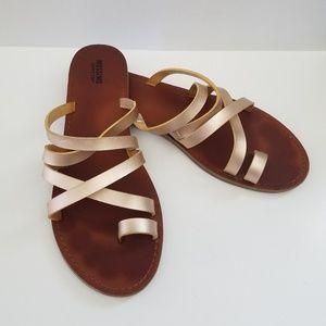 Gold strappy slide sandals